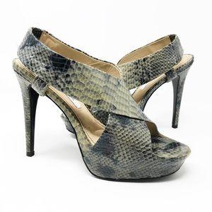 Diane Von Furstenberg Zia Snakeskin Heel Sandals